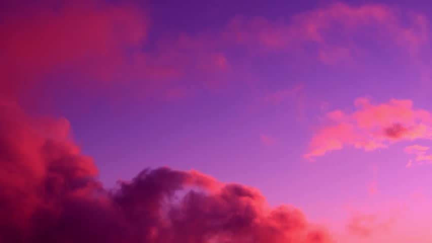 Pink evening rain clouds, time lapse purple skies in storm weather, nature color nice day.  Red purple orange blue pink sunset sky cloud Red purple cloudscape time lapse background, ultra hd. 4k, 3840