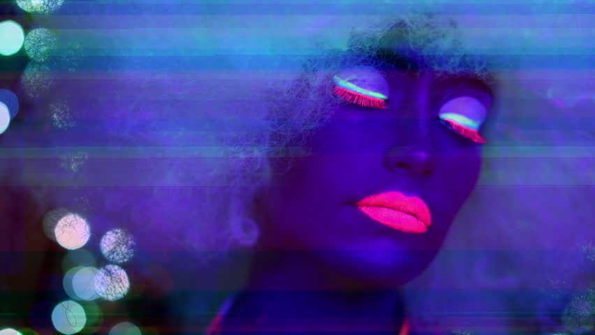 Sexy female disco dancer poses in UV fluorescent costume with overlayed video distortion and glitch effects.
