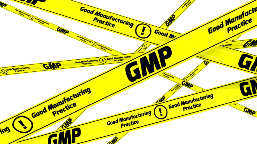 """GMP. Good Manufacturing Practice for medicinal products. Yellow warning tapes with inscription """"GMP. Good Manufacturing Practice for medicinal products"""". Footage video 