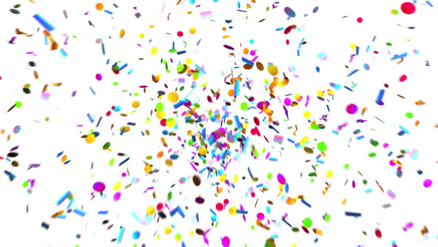 Confetti Party Popper Explosions on a Green Background. 3d animation, 4K.  #1007395909