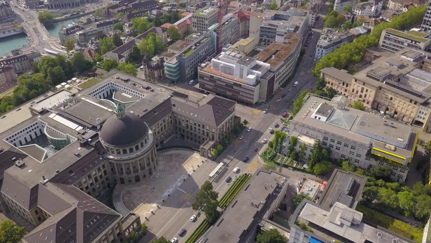 Switzerland Zurich Aerial v31 Birdseye flying low over University building 8/17