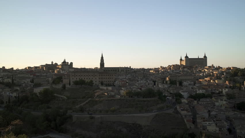 Toledo, Spain old town cityscape at the Alcazar, realtime video with panning camera motion.