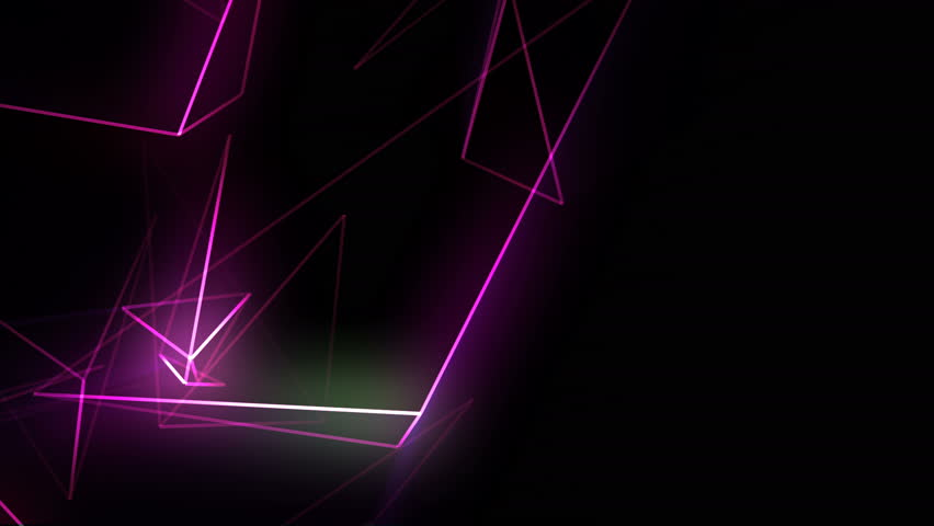 Abstract cgi polygonal violet neon triangles. Geometric light motion background. #1007443795