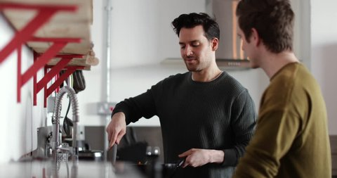 Young male couple cooking in kitchen