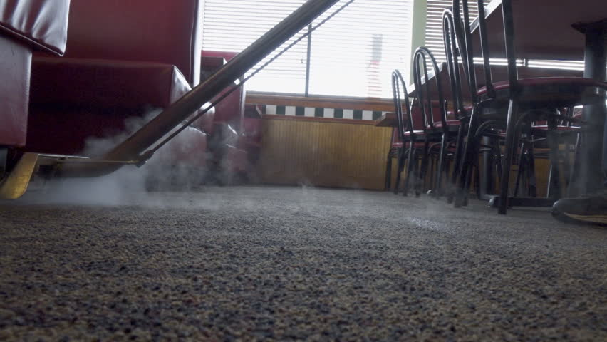 Commercial carpet and tile steam cleaning service business. Cleaning service for restaurant floor. Small business cleaning service. Blue collar worker. Manual labor. | Shutterstock HD Video #1007450896