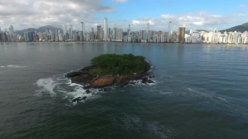 Aerial view of Balneario Camboriu city, Cabras Island, sea, Brazil