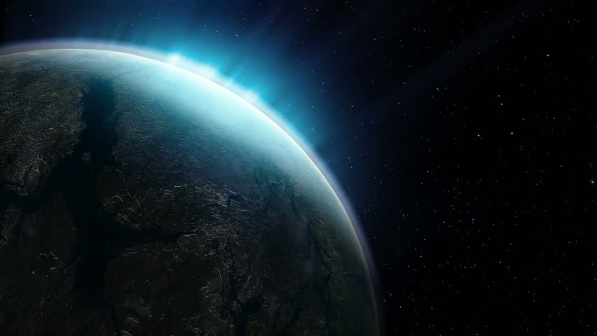 Beautiful planet rotates on the background of night sky #1007469400