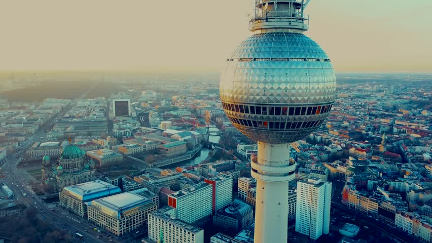 Berlin, Germany. Aerial shot of the TV Tower