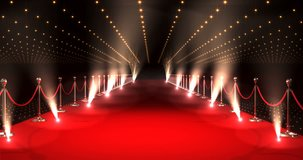 Digitally generated video of long red carpet with spotlights against red background