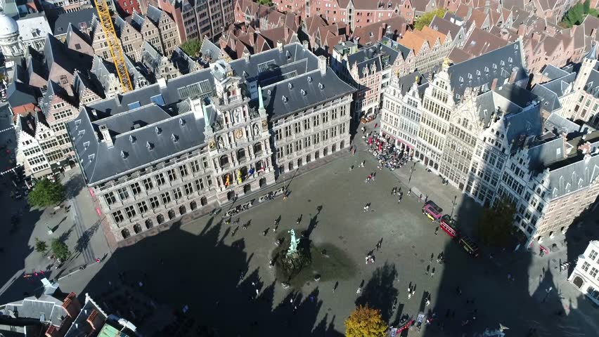Aerial of Belgium Antwerp Great Market Square in Dutch language Grote Markt is town square situated in heart of old city quarter with an extravagant city hall and 16th century guildhalls 4k quality