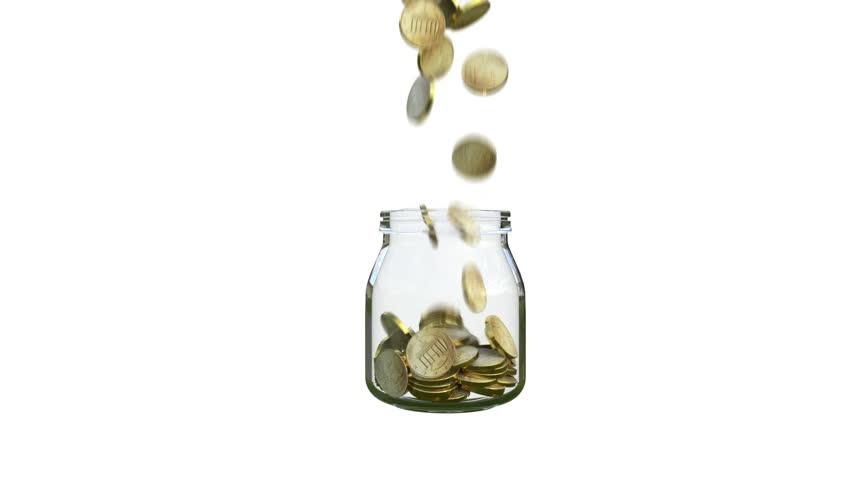 Coins fill a glass jar | Shutterstock HD Video #1007510635