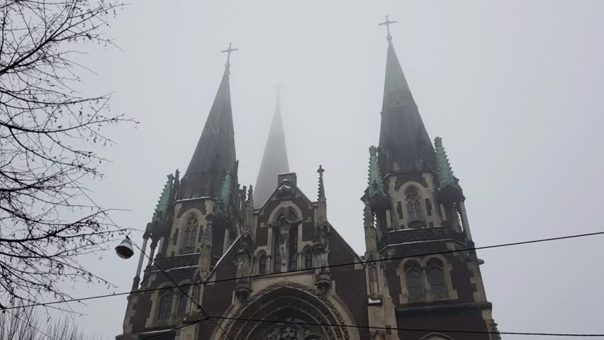 Lviv Dec 25 2017: Olha and Elizabeth church nice view    Shutterstock HD Video #1007514244