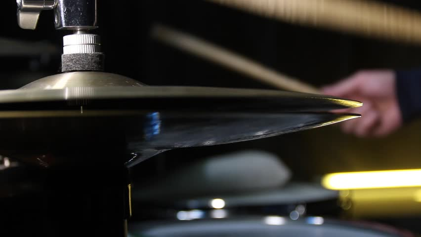 Close up of drum plate hi hat and a drummer playing on drums. Slider shot. | Shutterstock HD Video #1007524000