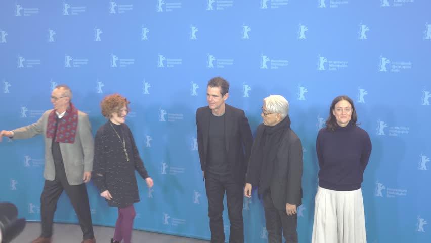 Berlin, Germany - February 15, 2018: Jury members of the 68th edition of the Berlinale Film Festival: Cecile de France, Chema Prado, Stephanie Zacharek, Tom Tykwer, Ryuichi Sakamoto, Adele Romanski