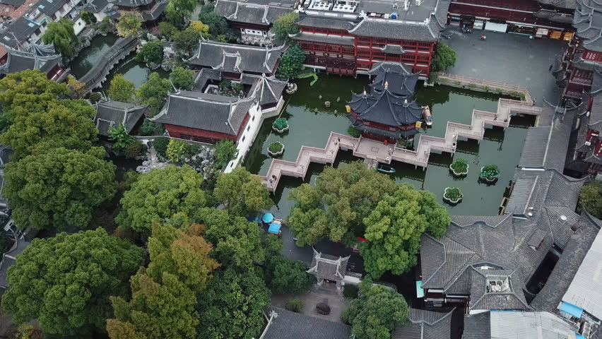 Shanghai, China - Nov 5, 2017: 4k aerial video of Yuyuan Garden in Shanghai, China