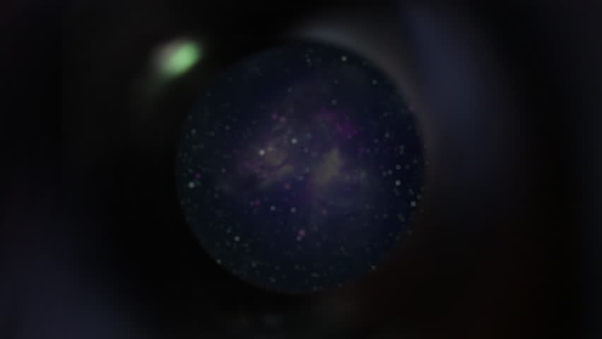 POV push through telescope with view of internal optics, stars and galaxy - Arp 299, a binary galaxy system 140 million light years form earth. Elements furnished by NASA. #1007589691