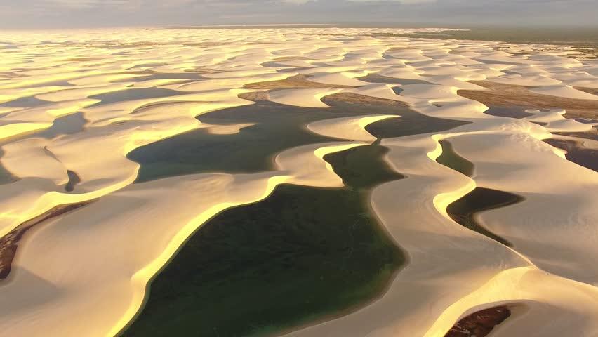 Aerial view of dunes and rainwater lakes at Lençóis Maranhenses National Park, Barreirinhas, Maranhão, Brazil Northeast Coast