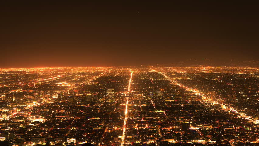 Timelapse of Los Angeles traffic. Cityscape panorama at night. | Shutterstock HD Video #1007594368