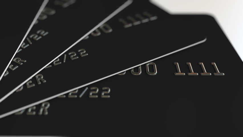 Black plastic credit cards, loopable animation Royalty-Free Stock Footage #1007602171