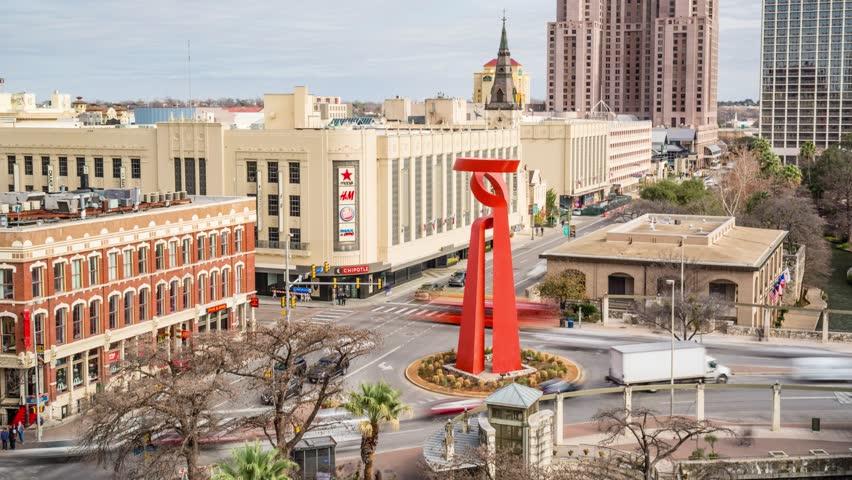 San Antonio City, Friendship Torch, Timelapse Video, San Antonio, Texas, February 2018