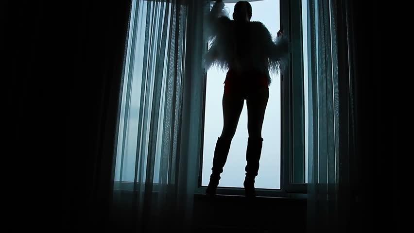 Silhouette of a girl in the open window | Shutterstock HD Video #1007615989