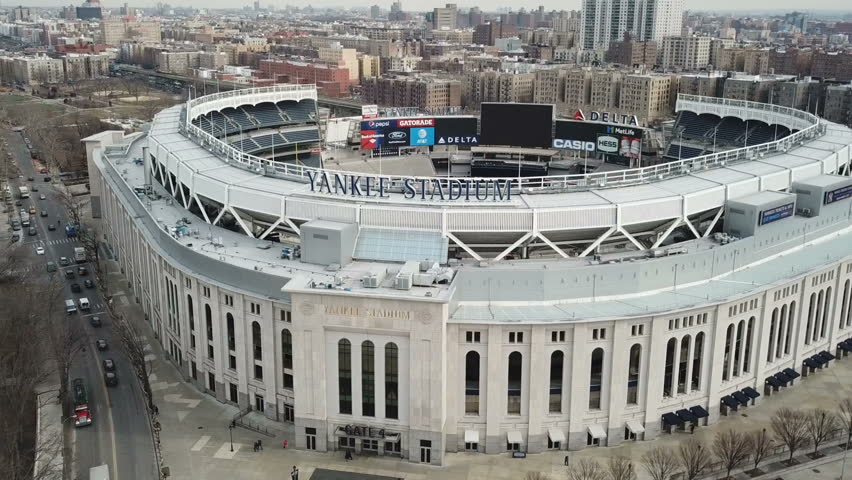 NEW YORK CITY - FEB 5, 2018: Yankee Stadium aerial across front sign in 1080 HD in NYC. New York Yankees owner George Steinbrenner began campaigning for a new stadium in the early 1980s.