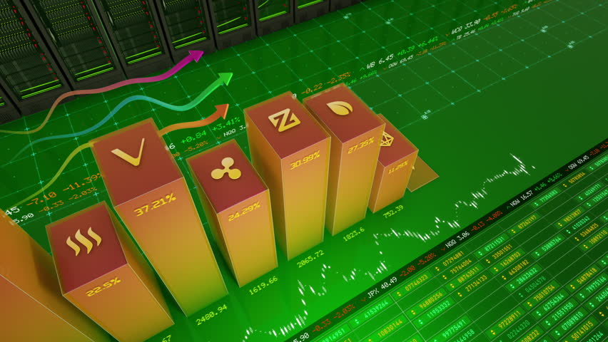 High angle shot of major crypto currencies (Bitcoin, Ethereum, NEO, Litecoin, Ripple, etc.) related business charts changing their value in stock exchange | Shutterstock HD Video #1007628853