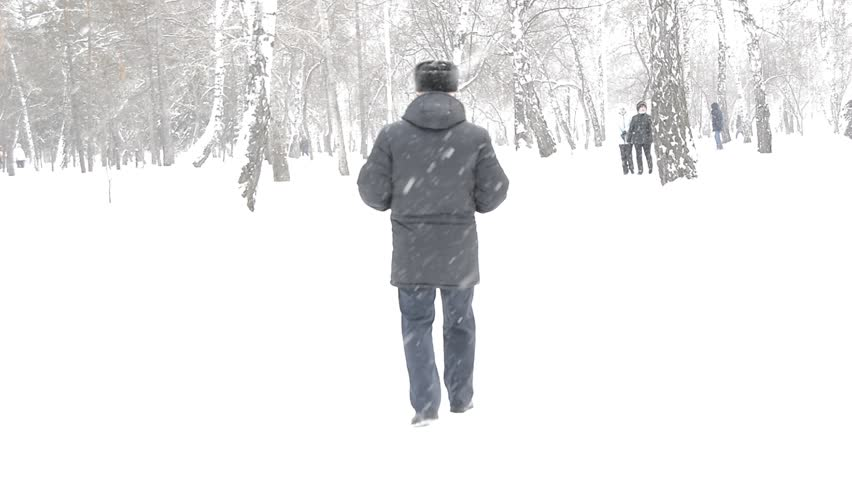 An elderly man in a black jacket and hat walks during snowfall in winter Park   Shutterstock HD Video #1007634982
