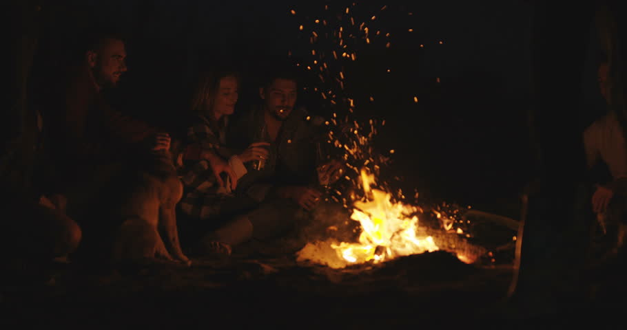Picnic of young people sitting by the bonfire at the beach and warming up in the evening | Shutterstock HD Video #1007642371