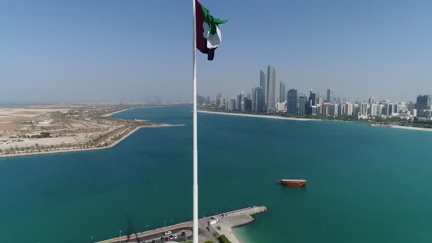 View of city and sea from height in Abu Dhabi