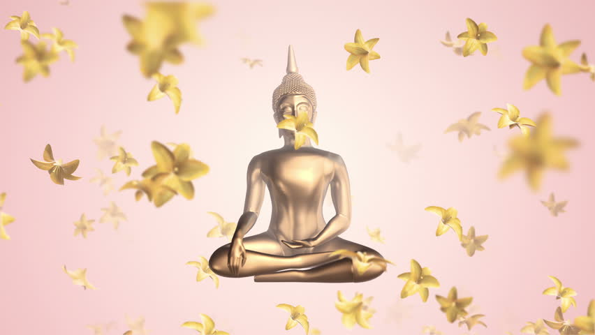 Animation flying of Buddha statue with flowing in up flowers or green leafs. Animation of seamless loop. | Shutterstock HD Video #1007646286