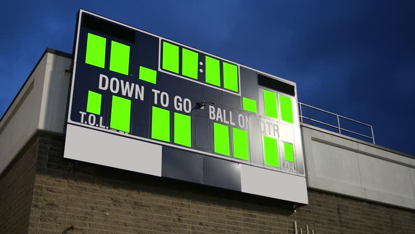 Generic Green Screen scoreboard for a high school or college football team -tripod shot | Shutterstock HD Video #1007657332