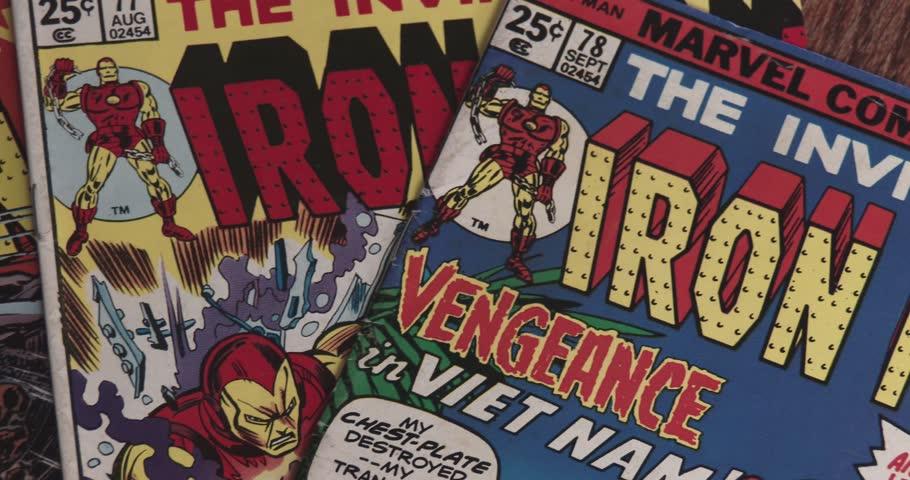 February 16, 2018, Bettendorf, Iowa, Iron Man Comic Books - Pan   Shutterstock HD Video #1007657650