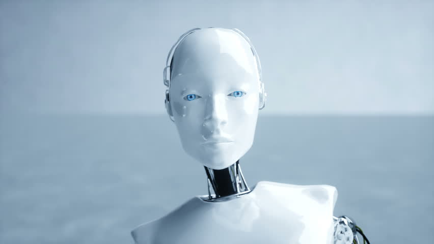 Futuristic humanoid female robot is idle. Concept of future. Realistic 4K animation.