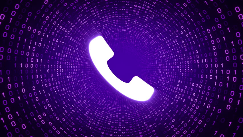 White ringing phone icon form purple binary tunnel on purple background. Seamless loop.  | Shutterstock HD Video #1007675647