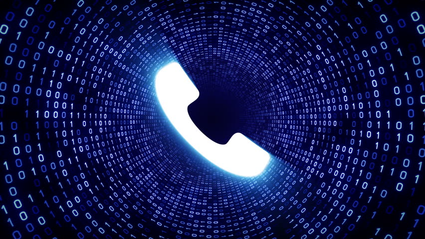 White ringing phone icon form blue binary tunnel on black background. Seamless loop.  | Shutterstock HD Video #1007675746