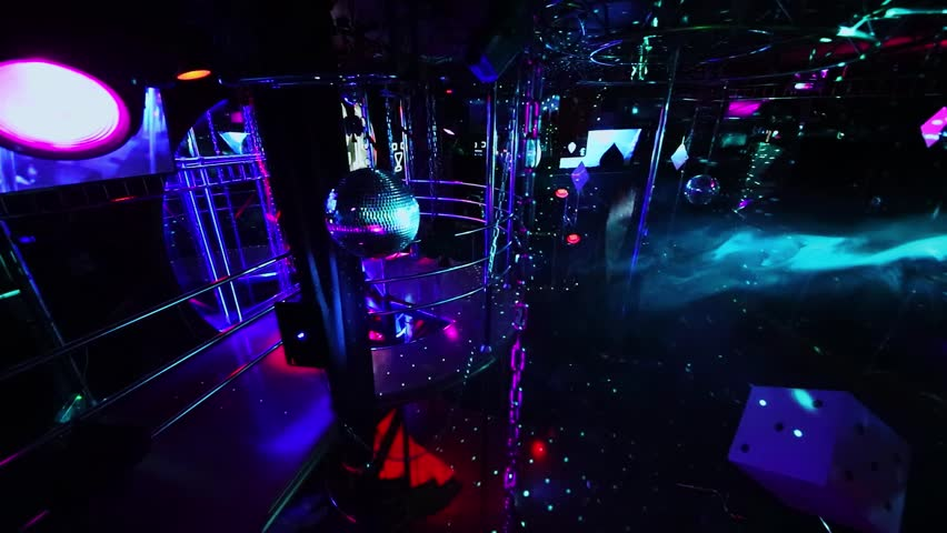 MOSCOW - DEC 09, 2016: Interior of White Bear striptease club with colorful illumination and smoke | Shutterstock HD Video #1007681611