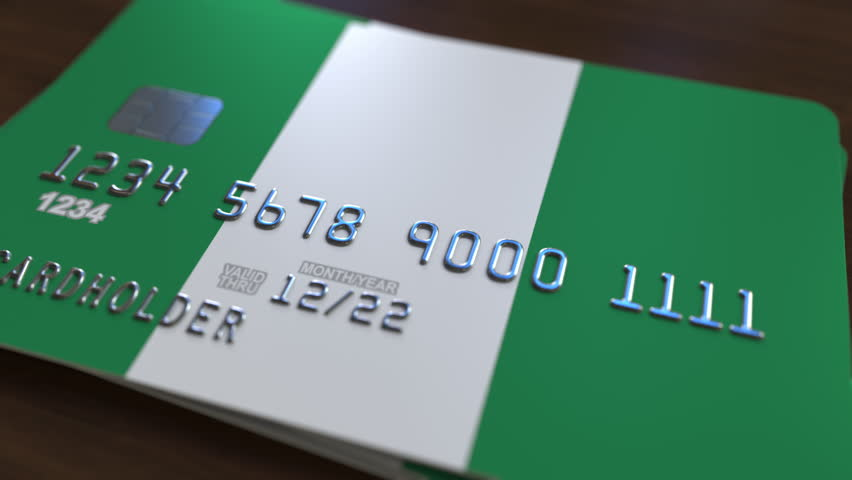 Plastic bank card featuring flag of Nigeria. National banking system related animation