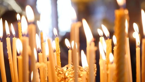 Inside the Orthodox Church Candles Are Burning