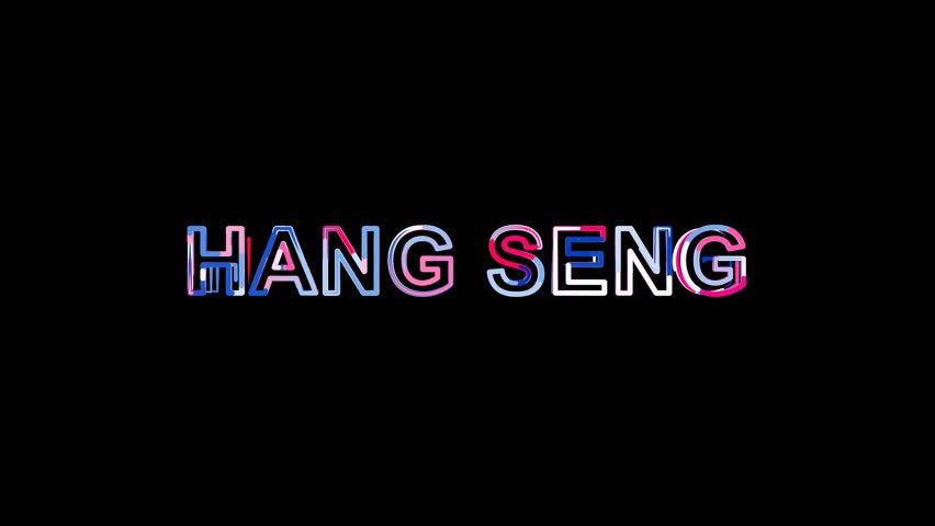Letters are collected in World stock index HANG SENG, then scattered into strips. Bright colors. Alpha channel Premultiplied - Matted with color black