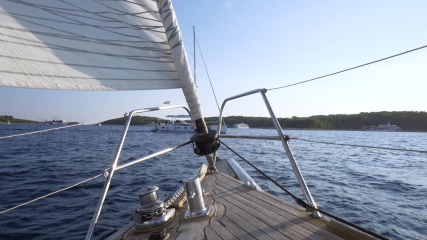 Sailing on the sea - beautiful day sail boat trip / Adriatic sea - Hvar croatia