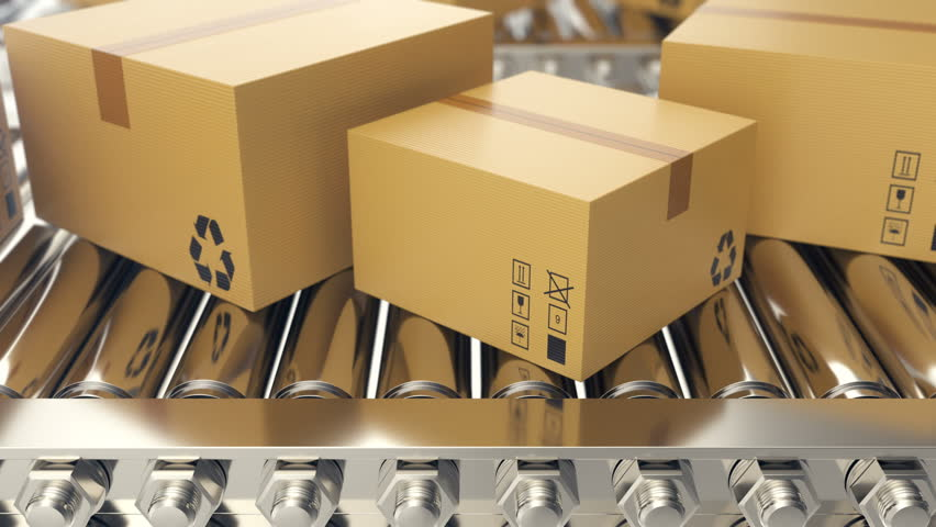 Cardboard boxes progresses along conveyor belt loopable animation. Cardboard boxes on conveyor belt | Shutterstock HD Video #1007768830