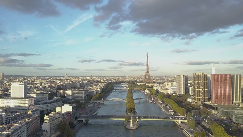 Aerial of Paris Eiffel Tower and Seine River | Shutterstock HD Video #1007822491