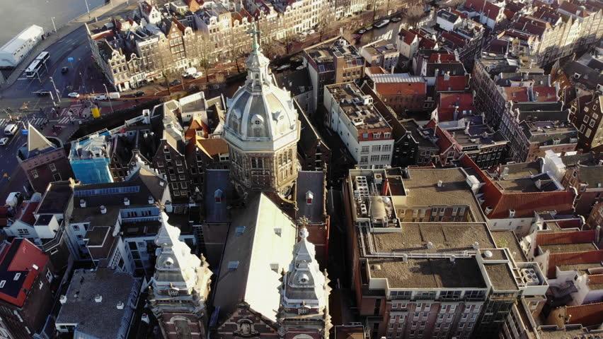 AMSTERDAM, NETHERLANDS February 18, 2018: Aerial shot over Central Amsterdam. | Shutterstock HD Video #1007832685
