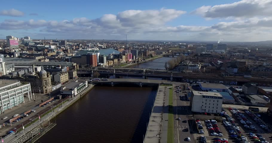 Aerial 180 degrees panorama over the centre of Glasgow.