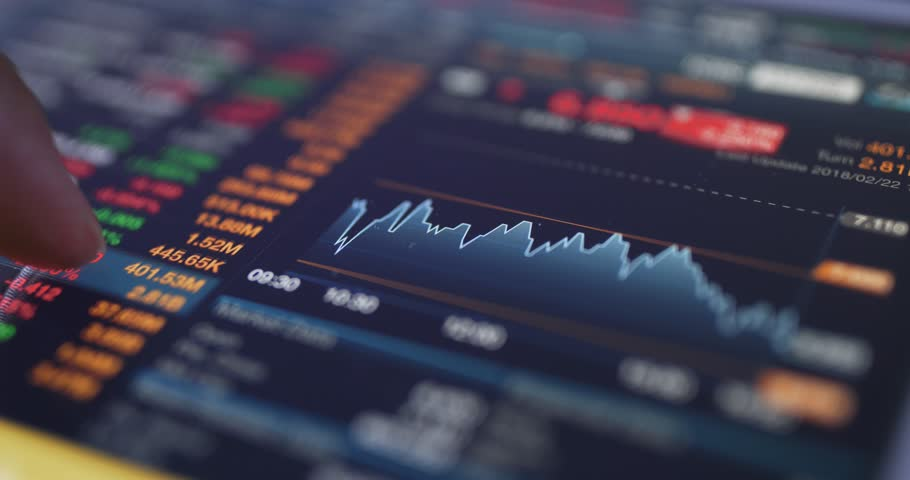 Digital tablet display the stock market data Royalty-Free Stock Footage #1007862157