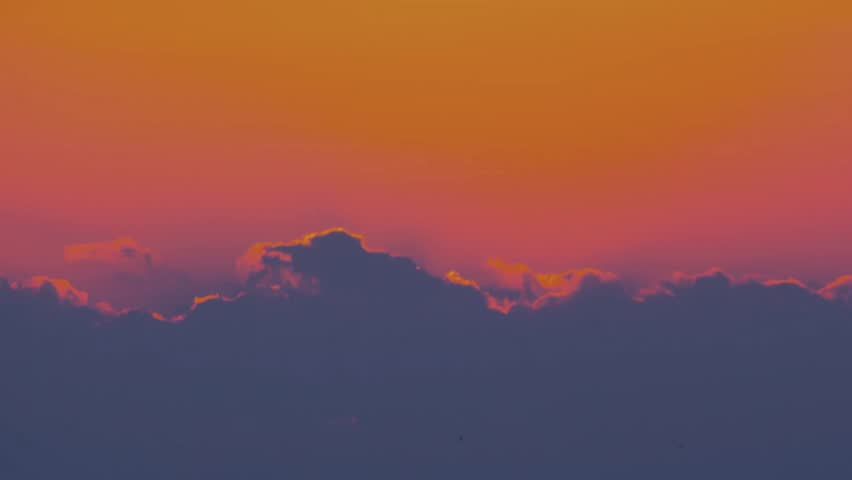 Beautiful evening golden big sun disk sunset time. Orange very nice time lapse clouds. Fast moving to top. Sunrise over desert with silhouette of lone cactus in foreground. Ultra HD, 4K.