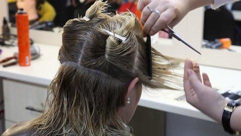 Lady hairdresser haircut