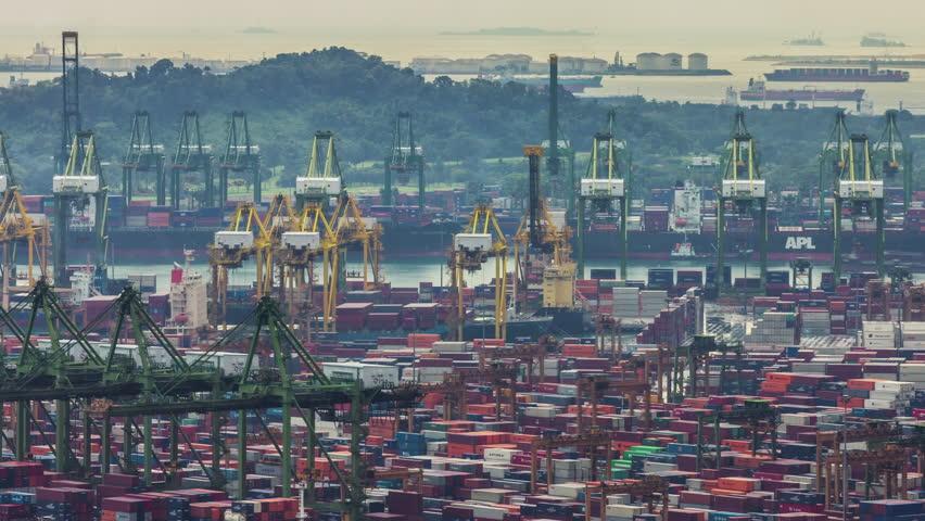 SINGAPORE - SEPTEMBER 2016: working day light singapore port 4k timelapse circa september 2016 singapore. | Shutterstock HD Video #1007946829