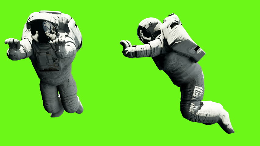 Astronaut pushes a heavy load. Looped animation on a green screen background. 4k #1007956069